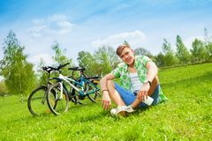 Young man biker Stock Images