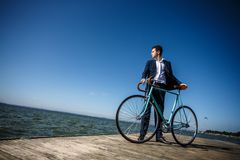 Young man biking Royalty Free Stock Images
