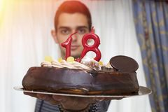 Man with birthday cake. Young man with birthday cake Stock Photo