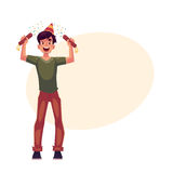Young man in birthday hat with party poppers in hands. Happy young man in birthday hat with party poppers in his hands, cartoon vector illustration with space Stock Image