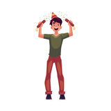 Young man in birthday hat with party poppers in hands. Happy young man in birthday hat with party poppers in his hands, cartoon vector illustration  on white Royalty Free Stock Photo
