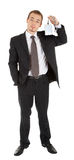 Young man in a black business suit Royalty Free Stock Image