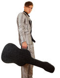 Young man with black case on guitar Stock Photography