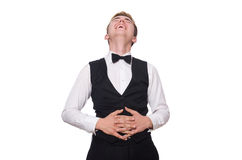The young man in black classic vest isolated on Stock Photo