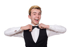The young man in black classic vest isolated on Royalty Free Stock Photo