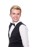 The young man in black classic vest isolated on Stock Photos