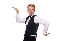 The young man in black classic vest isolated on Royalty Free Stock Image