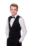 The young man in black classic vest Royalty Free Stock Photos