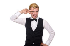 The young man in black classic vest Stock Image