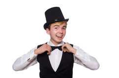 The young man in black classic vest  Stock Photography