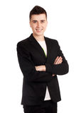 Young man in black coat Stock Photos