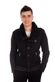 Young man in black coat Royalty Free Stock Photography