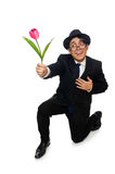 Young man in black costume with flower isolated on Royalty Free Stock Image