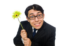 Young man in black costume with flower isolated on Stock Images