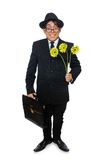 Young man in black costume with flower isolated on Stock Photography