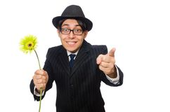 Young man in black costume with flower isolated on Royalty Free Stock Photos