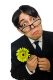 Young man in black costume with flower isolated on Stock Photo