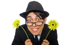 Young man in black costume with flower isolated on Royalty Free Stock Images