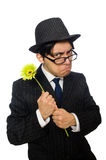 Young man in black costume with flower isolated on Royalty Free Stock Photo