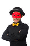 Young man in black costume and red mask isolated Royalty Free Stock Image