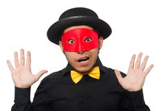 Young man in black costume and red mask isolated Stock Image