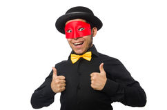 Young man in black costume and red mask isolated Stock Images