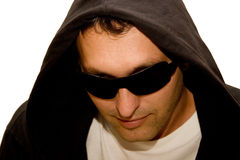 Young man in a black hood Stock Photo