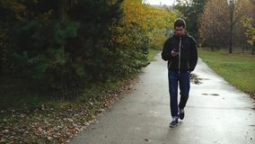 Young man in black jacket walking in the autumn park using his smartphone stock footage