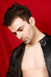 Young man with black leather jacket Stock Photos