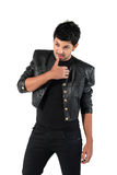 Young man in a black leather jacket. With a white background royalty free stock photos