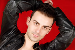 Young man with black leather jacket Stock Photography