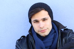 Young man in black leather jacket freezing Royalty Free Stock Photography
