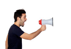 Young men in black with a Megaphone Stock Image