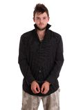 Young man in black shirt with handcuffs Royalty Free Stock Image