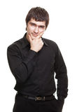 Young man in black shirt isolated Stock Photography