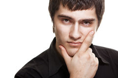 Young man in black shirt isolated Stock Images