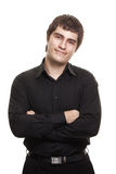 Young man in black shirt smiling isolated Stock Image
