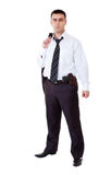 Young man in black suit with gun Royalty Free Stock Photography