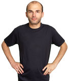 Young man with black T-shirt Royalty Free Stock Photography