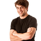 Young man in black tshirt isolated over white Stock Photos