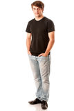 Young man in black tshirt isolated over white royalty free stock image