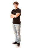 Young man in black tshirt isolated over white Royalty Free Stock Photography