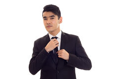 Young man in black tuxedo Royalty Free Stock Image