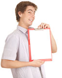 Young man with blank clipboard Stock Images