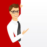 Young man with a blank presentation board Stock Photography