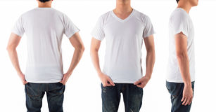 Young man with blank white shirt isolated white background Royalty Free Stock Images