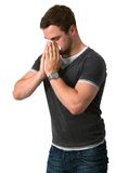 Young Man Blowing Nose Royalty Free Stock Photo