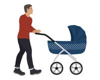 Young man with a blue baby stroller. Vector illustration on a white background Royalty Free Stock Photography