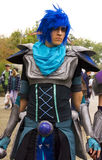 Young man in blue elf cosplay Royalty Free Stock Images