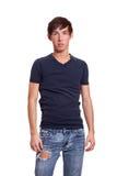 Young man in a blue shirt Stock Photos